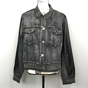 Ashley Stewart Motorcycle Black Denim Jacket 14/16
